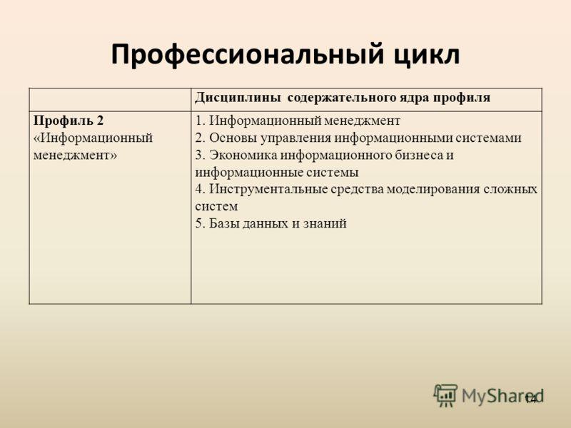 Профессиональный цикл Дисциплины содержательного ядра профиля Профиль 2 «Информационный менеджмент» 1. Информационный менеджмент 2. Основы управления информационными системами 3. Экономика информационного бизнеса и информационные системы 4. Инструмен