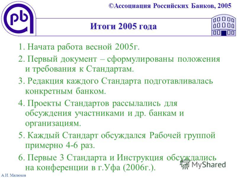 ©Ассоциация Российских Банков, 2005 А.И. Милюков Итоги 2005 года 1. Начата работа весной 2005г. 2. Первый документ – сформулированы положения и требования к Стандартам. 3. Редакция каждого Стандарта подготавливалась конкретным банком. 4. Проекты Стан