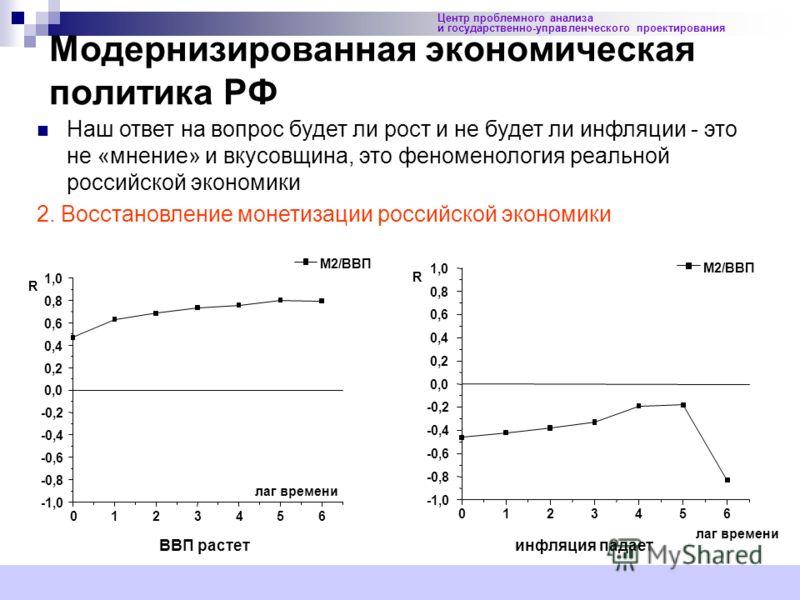13 Модернизированная экономическая политика РФ Центр проблемного анализа и государственно-управленческого проектирования Наш ответ на вопрос будет ли рост и не будет ли инфляции - это не «мнение» и вкусовщина, это феноменология реальной российской эк