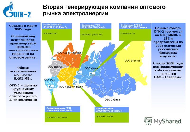 7gld0786_template3 0 0 ОГК-2:Информация о Компании Телефонная конференция по результатам отчетности по МСФО за первое полугодие 2009 г. Москва, Сентябрь 2009