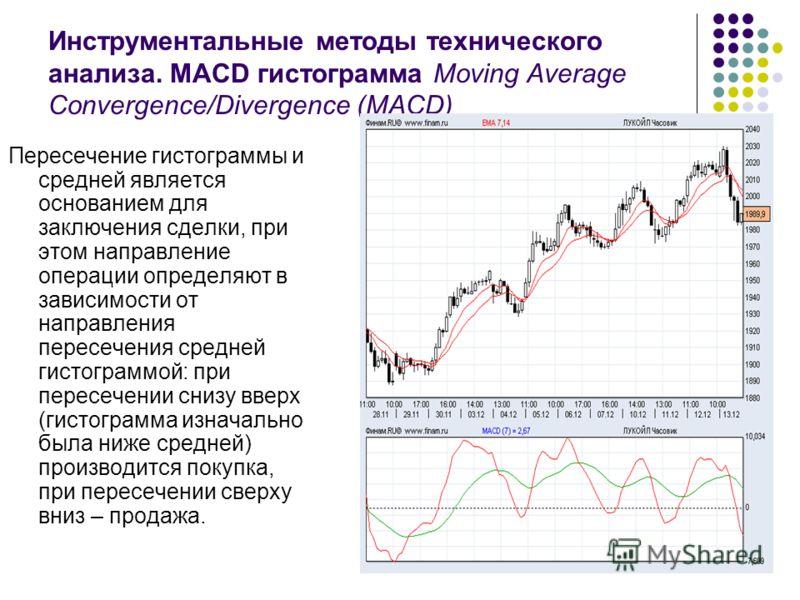 Инструментальные методы технического анализа. MACD гистограмма Moving Average Convergence/Divergence (MACD) Пересечение гистограммы и средней является основанием для заключения сделки, при этом направление операции определяют в зависимости от направл