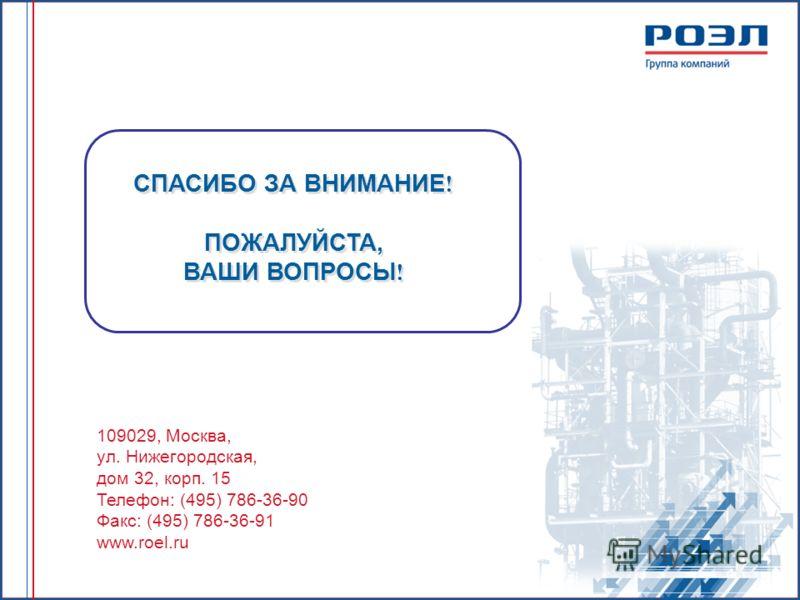109029, Москва, ул. Нижегородская, дом 32, корп. 15 Телефон: (495) 786-36-90 Факс: (495) 786-36-91 www.roel.ru СПАСИБО ЗА ВНИМАНИЕ ! ПОЖАЛУЙСТА, ВАШИ ВОПРОСЫ ! СПАСИБО ЗА ВНИМАНИЕ ! ПОЖАЛУЙСТА, ВАШИ ВОПРОСЫ !