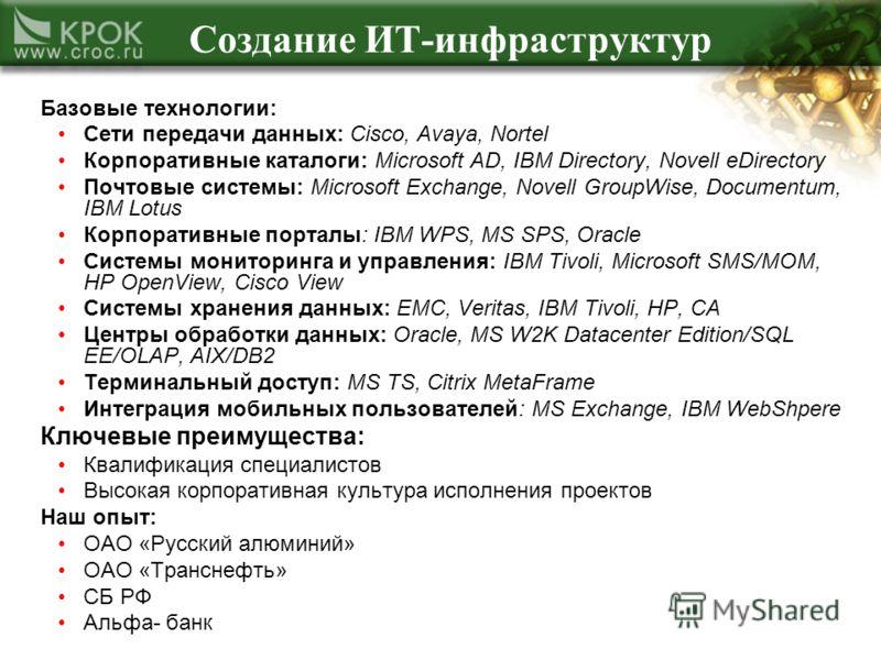 Создание ИТ-инфраструктур Базовые технологии: Сети передачи данных: Cisco, Avaya, Nortel Корпоративные каталоги: Microsoft AD, IBM Directory, Novell eDirectory Почтовые системы: Microsoft Exchange, Novell GroupWise, Documentum, IBM Lotus Корпоративны