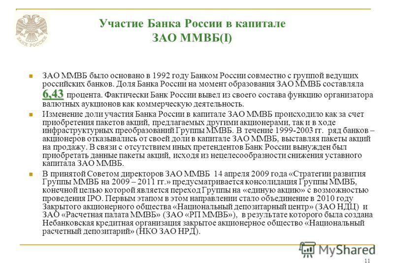 11 Участие Банка России в капитале ЗАО ММВБ(I) 6,43 ЗАО ММВБ было основано в 1992 году Банком России совместно с группой ведущих российских банков. Доля Банка России на момент образования ЗАО ММВБ составляла 6,43 процента. Фактически Банк России выве