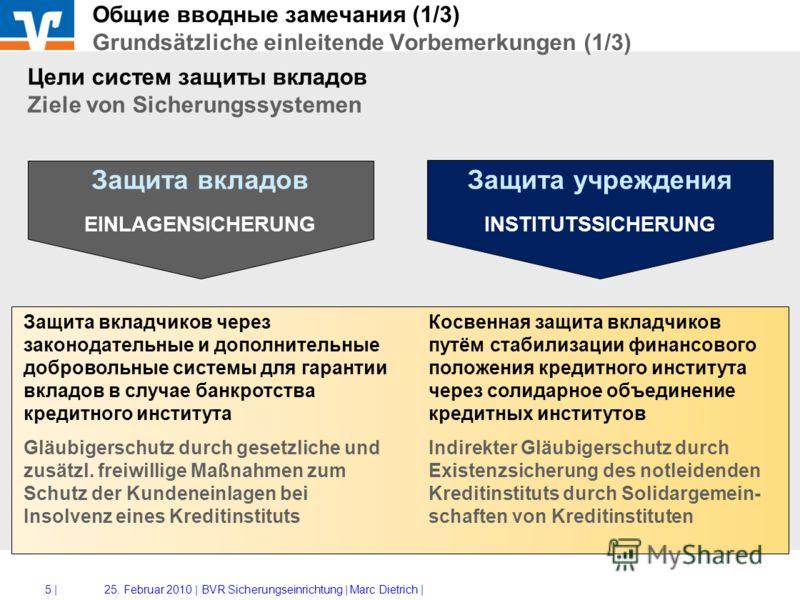 4 |25. Februar 2010 |BVR Sicherungseinrichtung | Marc Dietrich | Защита вкладов - Einlagensicherung Коммерческие и публичные кредитные институты Private und öffentlich-rechtliche KI Обязательные структуры (предписанные законодательством) Gesetzliche