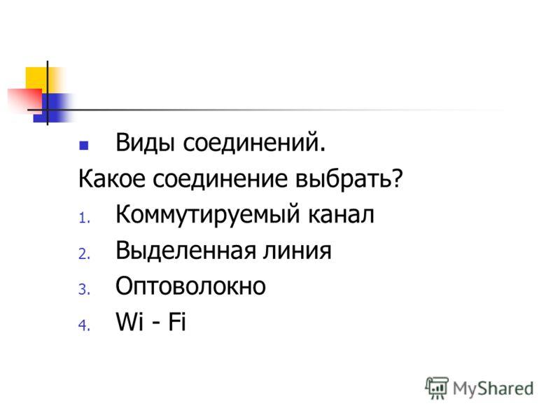 Виды соединений. Какое соединение выбрать? 1. Коммутируемый канал 2. Выделенная линия 3. Оптоволокно 4. Wi - Fi
