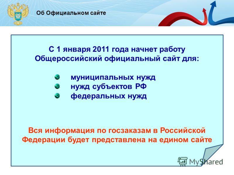 - для Об Официальном сайте C 1 января 2011 года начнет работу Общероссийский официальный сайт для: муниципальных нужд нужд субъектов РФ федеральных нужд Вся информация по госзаказам в Российской Федерации будет представлена на едином сайте