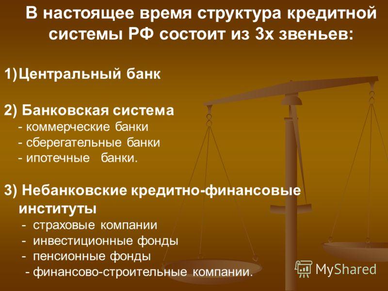 В настоящее время структура кредитной системы РФ состоит из 3х звеньев: 1)Центральный банк 2) Банковская система - коммерческие банки - сберегательные банки - ипотечные банки. 3) Небанковские кредитно-финансовые институты - страховые компании - инвес