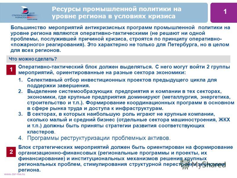 www.csr-nw.ru 1 Большинство мероприятий антикризисных программ промышленной политики на уровне региона являются оперативно-тактическими (не решают ни одной проблемы, послужившей причиной кризиса, строятся по принципу оперативно- «пожарного» реагирова