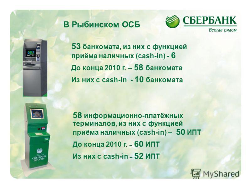 2 В Рыбинском ОСБ 53 банкомата, из них с функцией приёма наличных (cash-in) - 6 До конца 2010 г. – 58 банкомата Из них с cash-in - 10 банкомата 58 информационно-платёжных терминалов, из них с функцией приёма наличных (cash-in) – 50 ИПТ До конца 2010