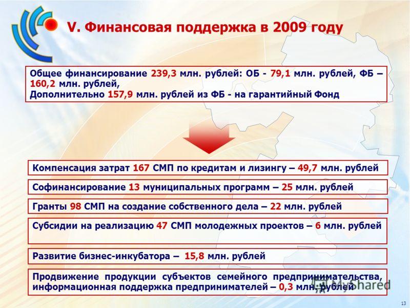 V. Финансовая поддержка в 2009 году Общее финансирование 239,3 млн. рублей: ОБ - 79,1 млн. рублей, ФБ – 160,2 млн. рублей, Дополнительно 157,9 млн. рублей из ФБ - на гарантийный Фонд 13 Софинансирование 13 муниципальных программ – 25 млн. рублей Комп