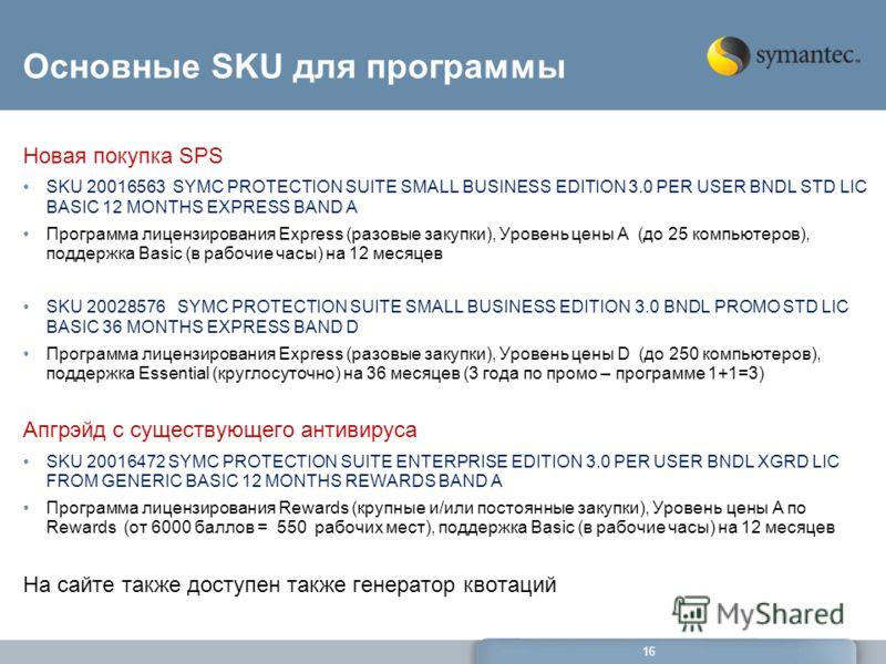 16 Основные SKU для программы Новая покупка SPS SKU 20016563 SYMC PROTECTION SUITE SMALL BUSINESS EDITION 3.0 PER USER BNDL STD LIC BASIC 12 MONTHS EXPRESS BAND A Программа лицензирования Express (разовые закупки), Уровень цены A (до 25 компьютеров),