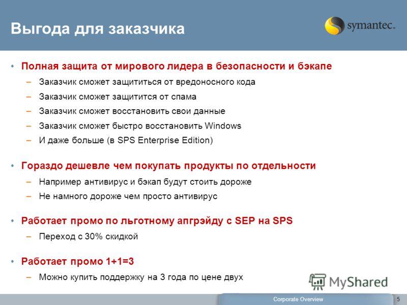 Corporate Overview 5 Выгода для заказчика Полная защита от мирового лидера в безопасности и бэкапе –Заказчик сможет защититься от вредоносного кода –Заказчик сможет защитится от спама –Заказчик сможет восстановить свои данные –Заказчик сможет быстро