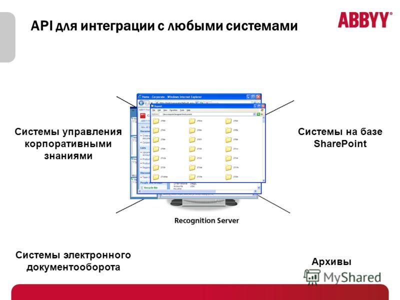 API для интеграции с любыми системами Системы управления корпоративными знаниями Системы электронного документооборота Системы на базе SharePoint Архивы
