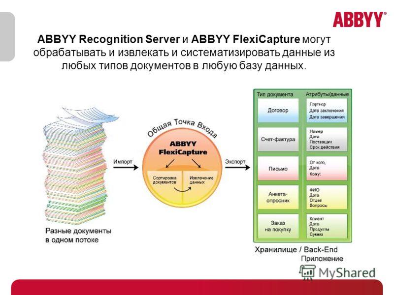 ABBYY Recognition Server и ABBYY FlexiCapture могут обрабатывать и извлекать и систематизировать данные из любых типов документов в любую базу данных.