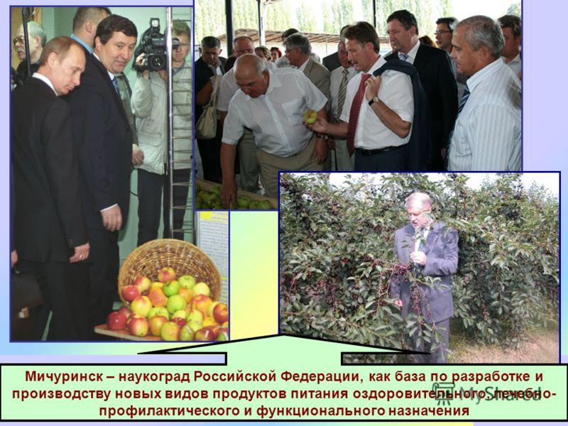 Мичуринск – наукоград Российской Федерации, как база по разработке и производству новых видов продуктов питания оздоровительного, лечебно- профилактического и функционального назначения