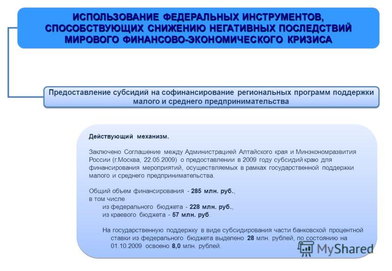 ИСПОЛЬЗОВАНИЕ ФЕДЕРАЛЬНЫХ ИНСТРУМЕНТОВ, СПОСОБСТВУЮЩИХ СНИЖЕНИЮ НЕГАТИВНЫХ ПОСЛЕДСТВИЙ МИРОВОГО ФИНАНСОВО-ЭКОНОМИЧЕСКОГО КРИЗИСА Предоставление субсидий на софинансирование региональных программ поддержки малого и среднего предпринимательства Действу