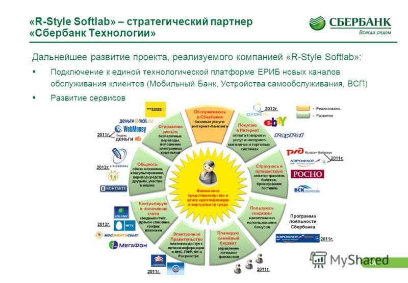24 «R-Style Softlab» – стратегический партнер «Сбербанк Технологии» Дальнейшее развитие проекта, реализуемого компанией «R-Style Softlab»: Подключение к единой технологической платформе ЕРИБ новых каналов обслуживания клиентов (Мобильный Банк, Устрой