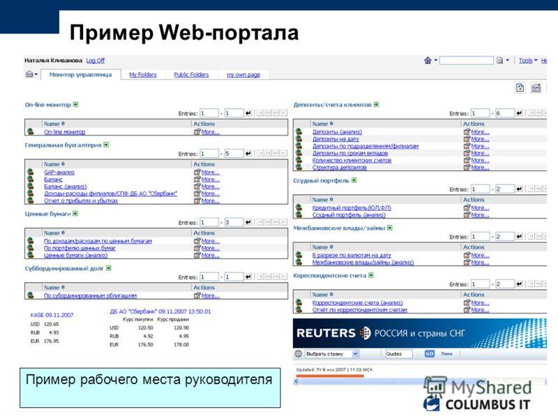 Пример Web-портала Пример рабочего места руководителя