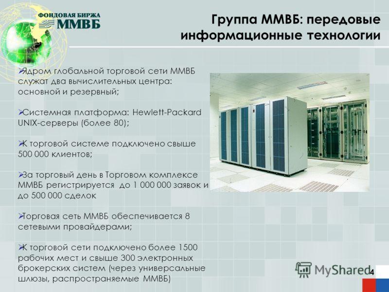 4 Группа ММВБ: передовые информационные технологии Ядром глобальной торговой сети ММВБ служат два вычислительных центра: основной и резервный; Системная платформа: Hewlett-Packard UNIX-серверы (более 80); К торговой системе подключено свыше 500 000 к