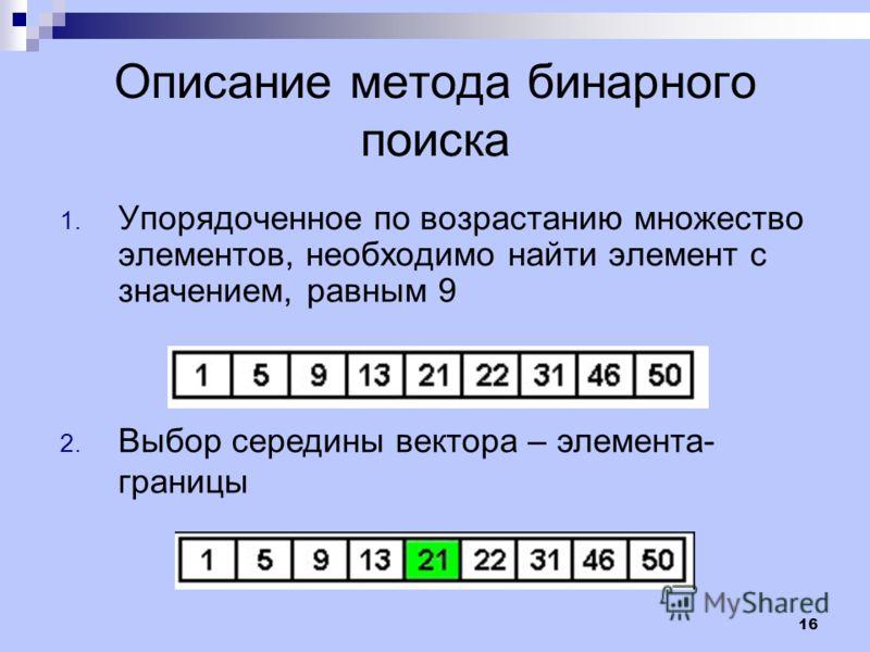 16 Описание метода бинарного поиска 1. Упорядоченное по возрастанию множество элементов, необходимо найти элемент с значением, равным 9 2. Выбор середины вектора – элемента- границы