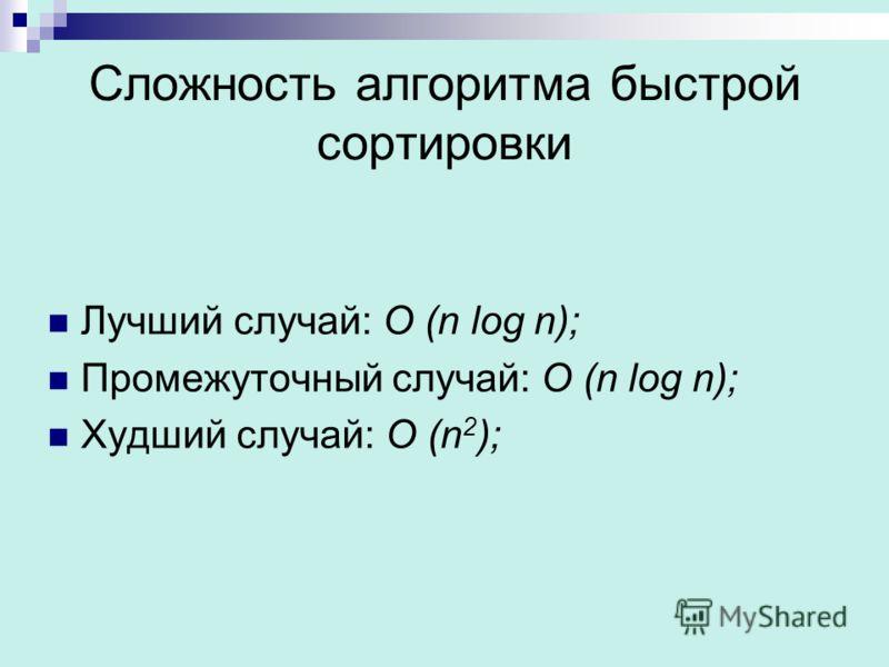 Сложность алгоритма быстрой сортировки Лучший случай: O (n log n); Промежуточный случай: O (n log n); Худший случай: O (n 2 );