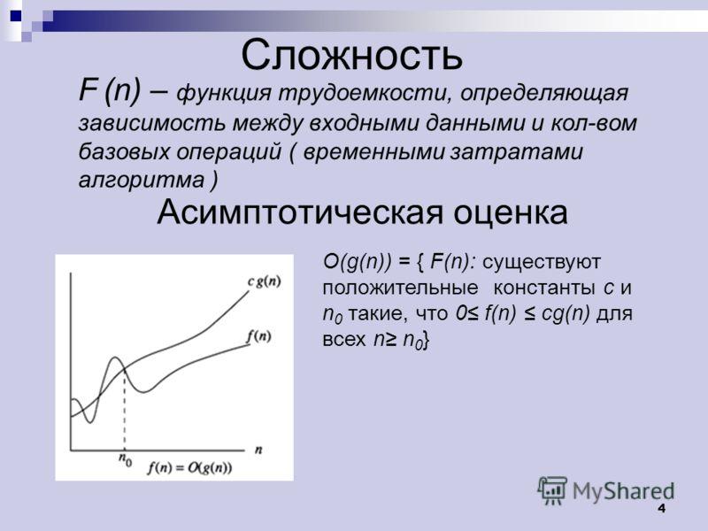 4 Сложность F (n) – функция трудоемкости, определяющая зависимость между входными данными и кол-вом базовых операций ( временными затратами алгоритма ) O(g(n)) = { F(n): существуют положительные константы c и n 0 такие, что 0 f(n) cg(n) для всех n n