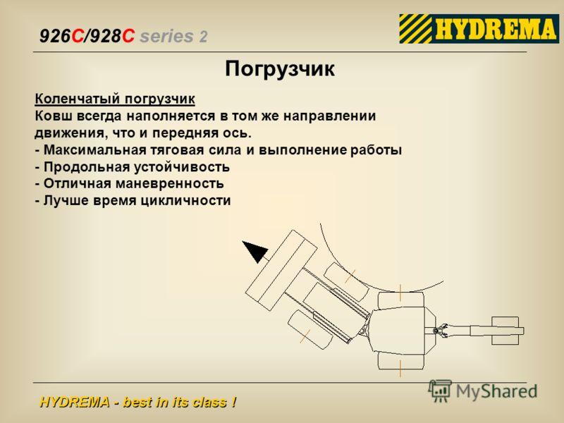 926C/928C series 2 HYDREMA - best in its class ! Погрузчик Коленчатый погрузчик Ковш всегда наполняется в том же направлении движения, что и передняя ось. - Максимальная тяговая сила и выполнение работы - Продольная устойчивость - Отличная маневренно