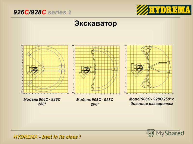 926C/928C series 2 HYDREMA - best in its class ! Экскаватор Модель 906C - 926C 280° Модель 908C - 928C 200° Model 908C - 928C 250° с боковым разворотом