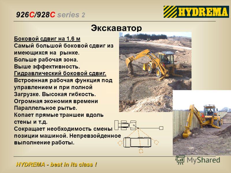926C/928C series 2 HYDREMA - best in its class ! Боковой сдвиг на 1.6 м Самый большой боковой сдвиг из имеющихся на рынке. Больше рабочая зона. Выше эффективность. Гидравлический боковой сдвиг. Встроенная рабочая функция под управлением и при полной