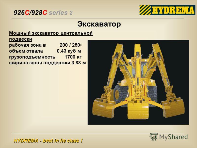 926C/928C series 2 HYDREMA - best in its class ! Экскаватор Мощный экскаватор центральной подвески рабочая зона в 200 / 250 объем отвала 0,43 куб м грузоподъемность 1700 кг ширина зоны поддержки 3,88 м