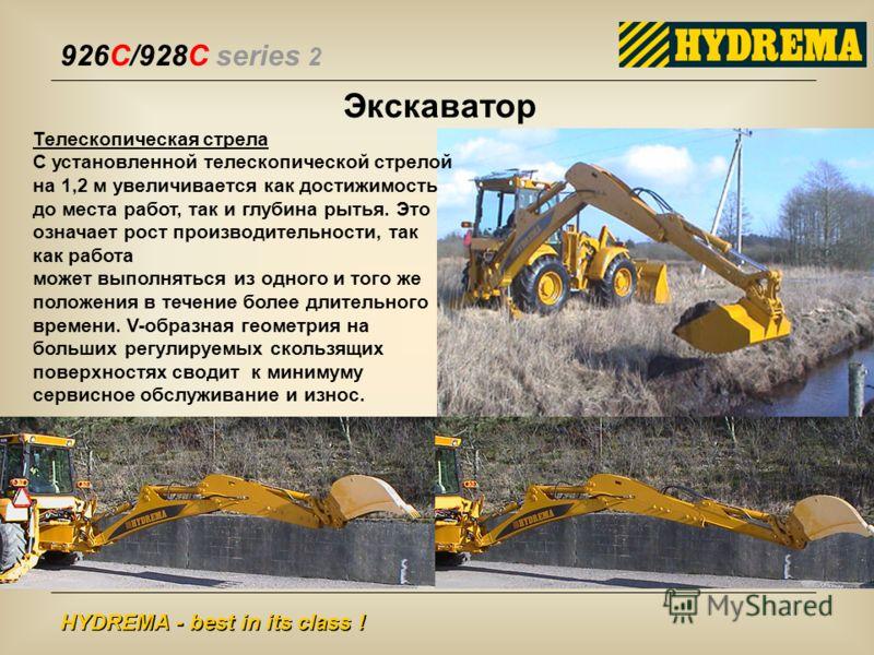 926C/928C series 2 HYDREMA - best in its class ! Экскаватор Телескопическая стрела С установленной телескопической стрелой на 1,2 м увеличивается как достижимость до места работ, так и глубина рытья. Это означает рост производительности, так как рабо