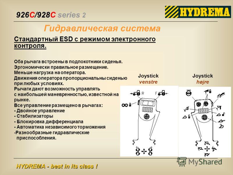 926C/928C series 2 HYDREMA - best in its class ! Гидравлическая система Joystick højre Joystick venstre Стандартный ESD с режимом электронного контроля. Оба рычага встроены в подлокотники сиденья. Эргономически правильное размещение. Меньше нагрузка