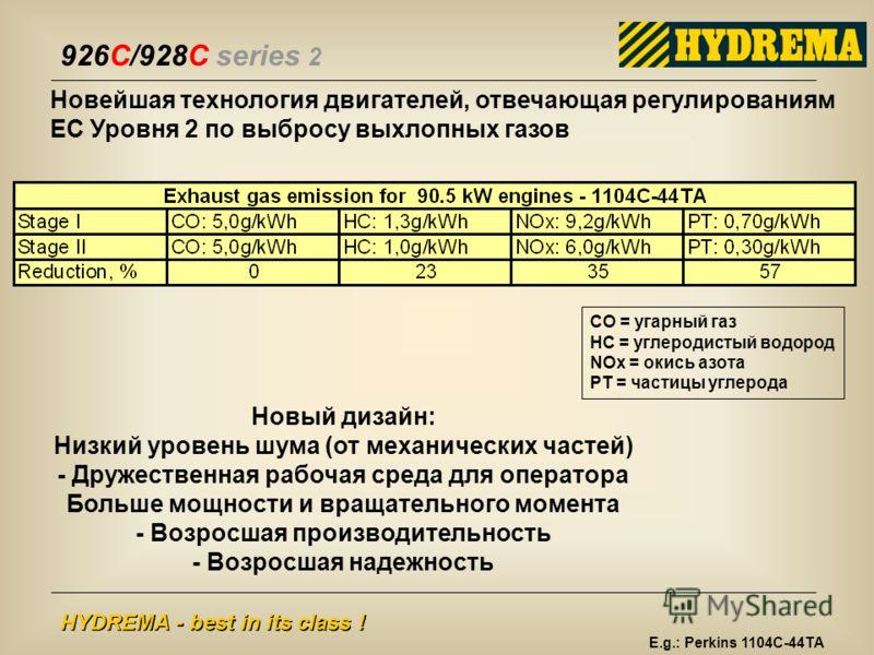 926C/928C series 2 HYDREMA - best in its class ! Новейшая технология двигателей, отвечающая регулированиям ЕС Уровня 2 по выбросу выхлопных газов CO = угарный газ HC = углеродистый водород NOx = окись азота PT = частицы углерода Новый дизайн: Низкий