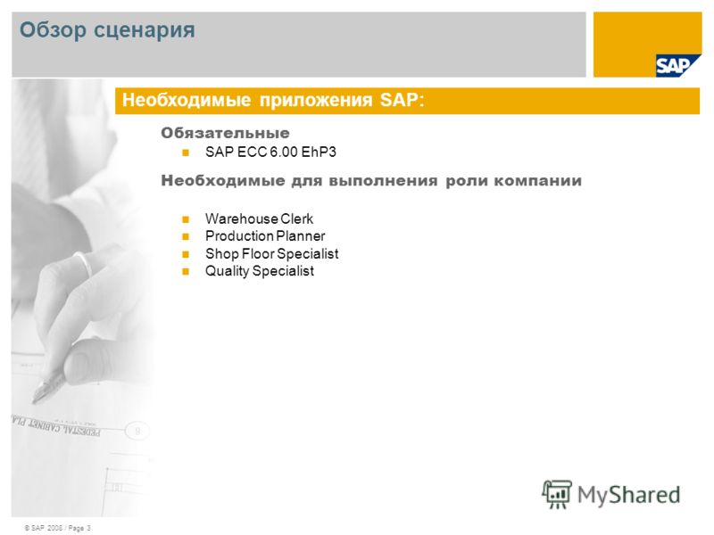 © SAP 2008 / Page 3 Обязательные SAP ECC 6.00 EhP3 Необходимые для выполнения роли компании Warehouse Clerk Production Planner Shop Floor Specialist Quality Specialist Необходимые приложения SAP: Обзор сценария