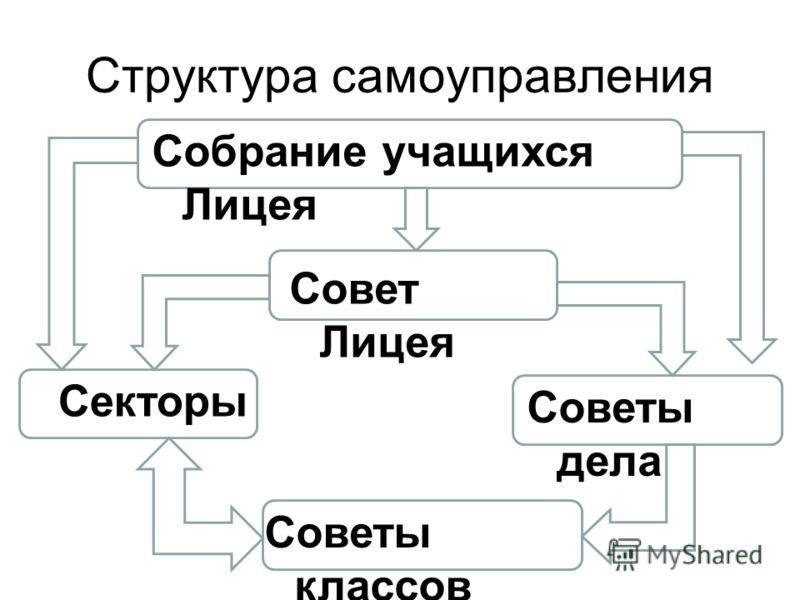 Структура самоуправления Собрание учащихся Лицея Совет Лицея Секторы Советы дела Советы классов