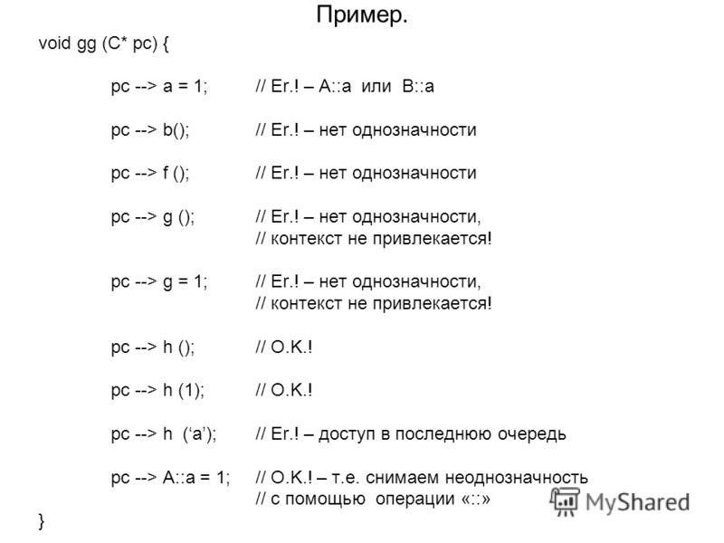 Пример. void gg (C* pc) { pc --> a = 1; // Er.! – A::a или B::a pc --> b(); // Er.! – нет однозначности pc --> f (); // Er.! – нет однозначности pc --> g (); // Er.! – нет однозначности, // контекст не привлекается! pc --> g = 1; // Er.! – нет однозн