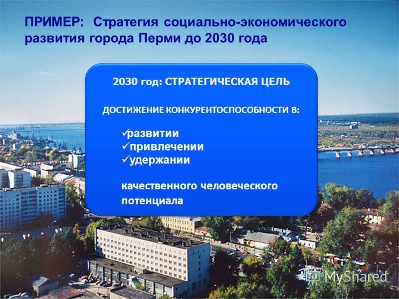 ПРИМЕР: Стратегия социально-экономического развития города Перми до 2030 года 2030 год: СТРАТЕГИЧЕСКАЯ ЦЕЛЬ ДОСТИЖЕНИЕ КОНКУРЕНТОСПОСОБНОСТИ В: развитии привлечении удержании качественного человеческого потенциала 2030 год: СТРАТЕГИЧЕСКАЯ ЦЕЛЬ ДОСТИЖ