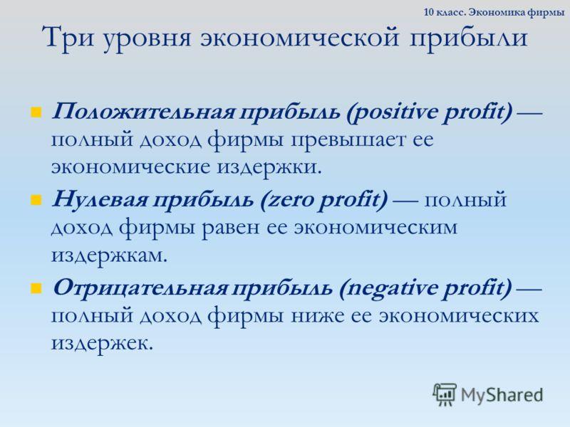 Три уровня экономической прибыли Положительная прибыль (positive profit) полный доход фирмы превышает ее экономические издержки. Нулевая прибыль (zero profit) полный доход фирмы равен ее экономическим издержкам. Отрицательная прибыль (negative profit