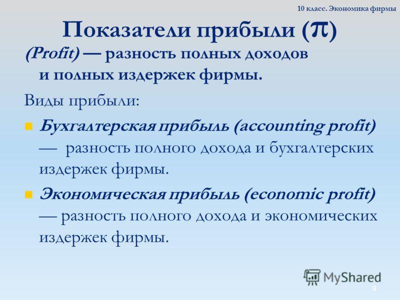 9 Показатели прибыли ( π ) (Profit) разность полных доходов и полных издержек фирмы. Виды прибыли: Бухгалтерская прибыль (accounting profit) разность полного дохода и бухгалтерских издержек фирмы. Экономическая прибыль (economic profit) разность полн
