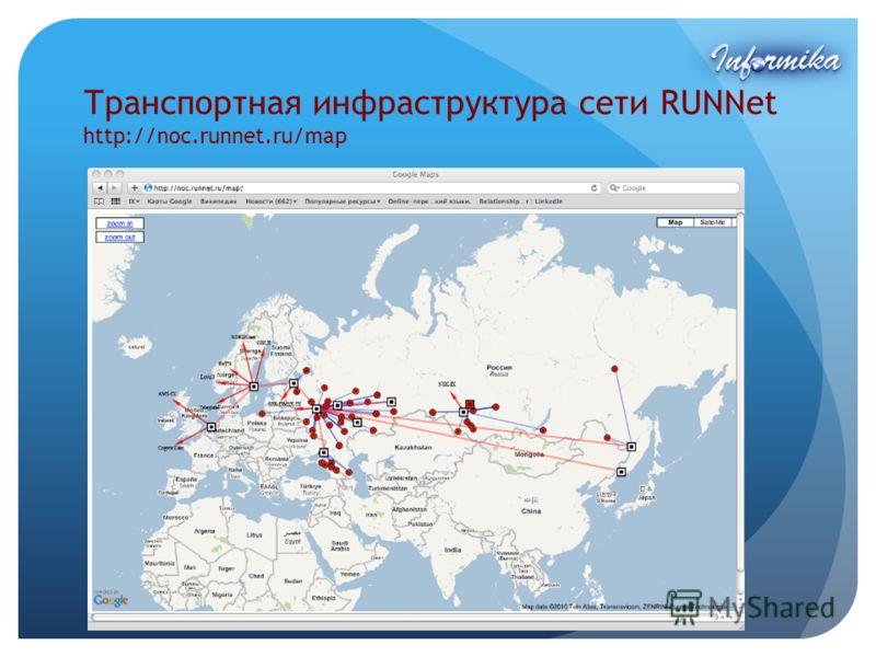 Транспортная инфраструктура сети RUNNet http://noc.runnet.ru/map