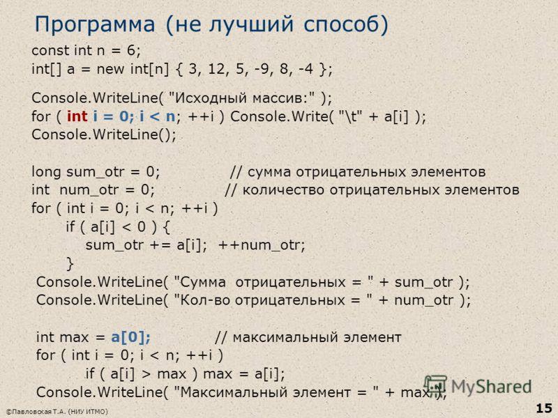 ©Павловская Т.А. (НИУ ИТМО) 15 Программа (не лучший способ) const int n = 6; int[] a = new int[n] { 3, 12, 5, -9, 8, -4 }; Console.WriteLine(