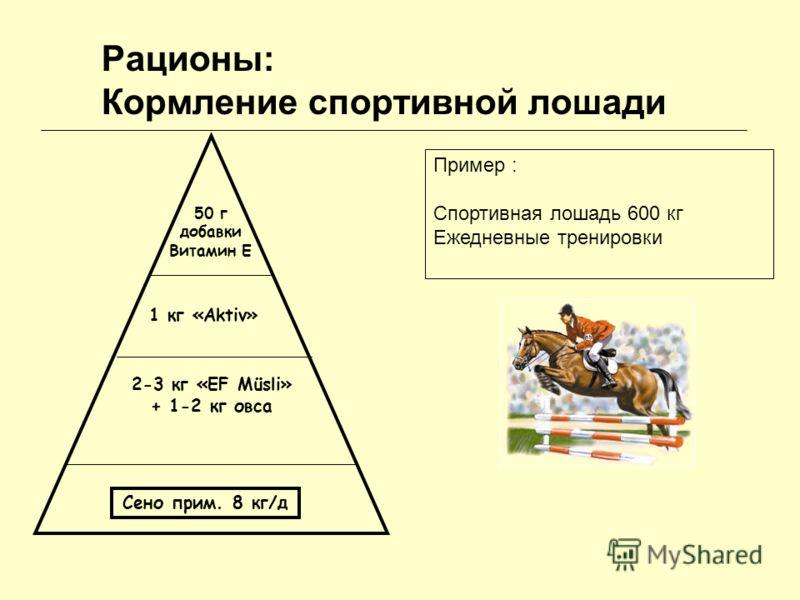 Рационы: Кормление спортивной лошади Сено прим. 8 кг/д 2-3 кг «EF Müsli» + 1-2 кг овса 1 кг «Aktiv» 50 г добавки Витамин E Пример : Спортивная лошадь 600 кг Ежедневные тренировки