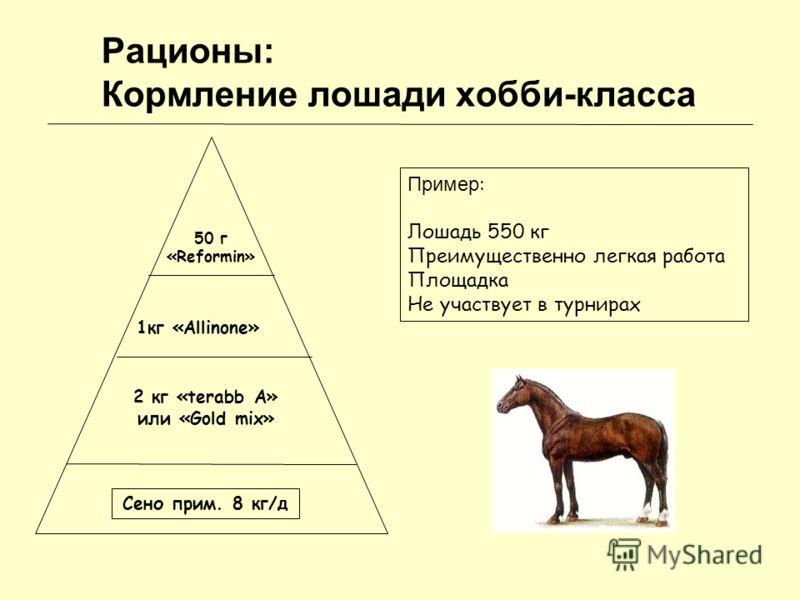 Рационы: Кормление лошади хобби-класса Сено прим. 8 кг/д 2 кг «terabb A» или «Gold mix» 1кг «Allinone» 50 г «Reformin» Пример : Лошадь 550 кг Преимущественно легкая работа Площадка Не участвует в турнирах