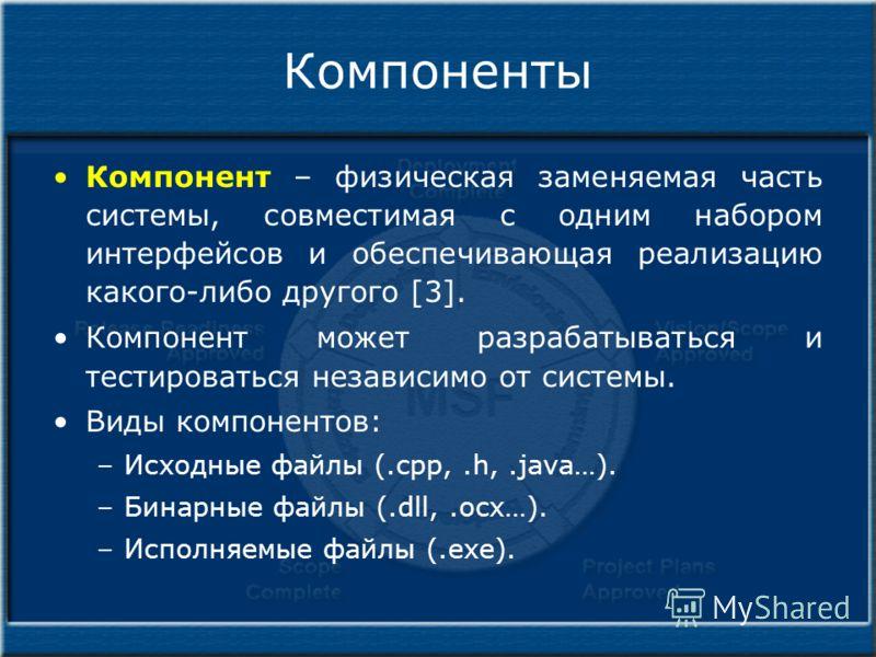 Компоненты Компонент – физическая заменяемая часть системы, совместимая с одним набором интерфейсов и обеспечивающая реализацию какого-либо другого [3]. Компонент может разрабатываться и тестироваться независимо от системы. Виды компонентов: –Исходны