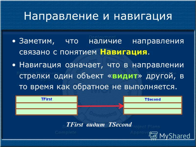 Направление и навигация Заметим, что наличие направления связано с понятием Навигация. Навигация означает, что в направлении стрелки один объект «видит» другой, в то время как обратное не выполняется. TFirst видит TSecond