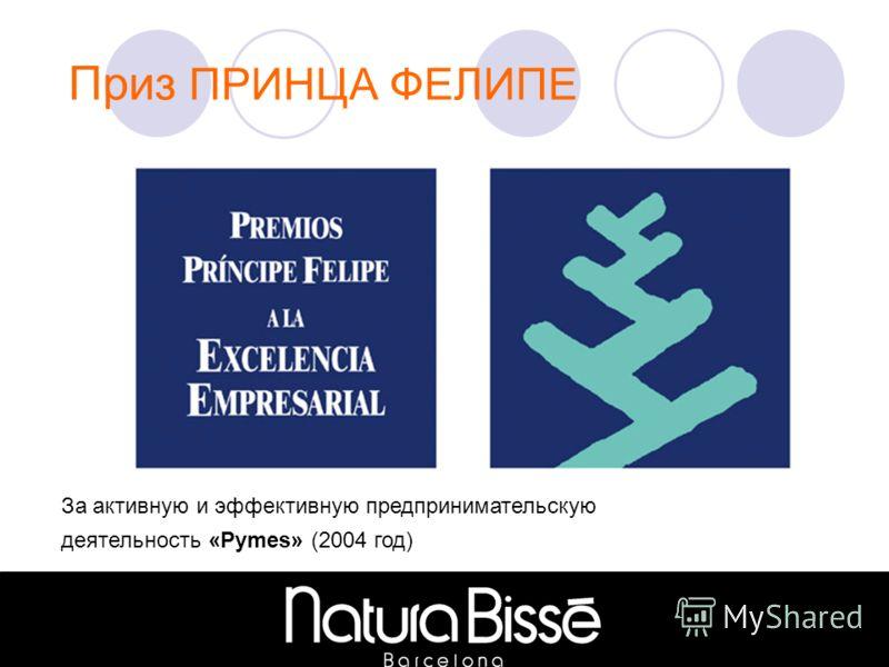Приз ПРИНЦА ФЕЛИПЕ За активную и эффективную предпринимательскую деятельность «Pymes» (2004 год)