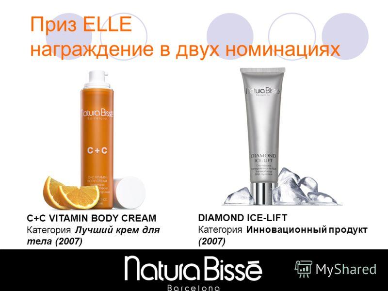С+C VITAMIN BODY CREAM Категория Лучший крем для тела (2007) DIAMOND ICE-LIFT Категория Инновационный продукт (2007)
