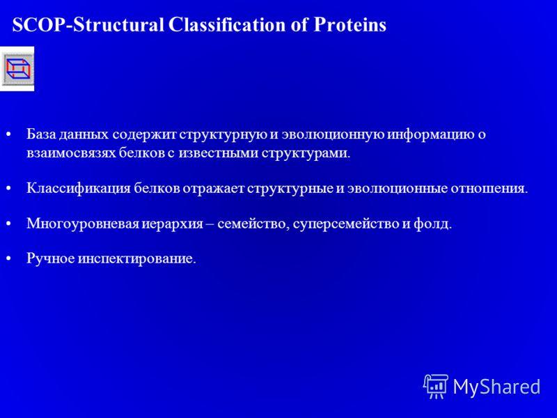 SCOP- S tructural C lassification o f P roteins База данных содержит структурную и эволюционную информацию о взаимосвязях белков с известными структурами. Классификация белков отражает структурные и эволюционные отношения. Многоуровневая иерархия – с