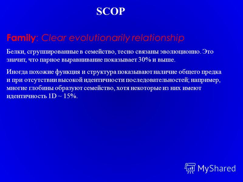 Family : Clear evolutionarily relationship Белки, сгруппированные в семейство, тесно связаны эволюционно. Это значит, что парное выравнивание показывает 30% и выше. Иногда похожие функция и структура показывают наличие общего предка и при отсутствии